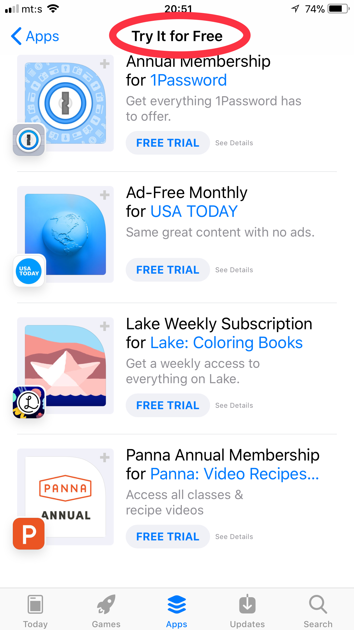App Store Try Free 2